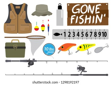 Fishing icon set. Equipment vector collection. Vector illustration