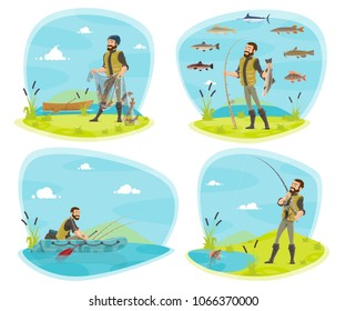Fishing icon set with fisherman and fish. Fisherman fishing from boat and river bank with rod, net and spinning, marlin fish, pike and perch on hook cartoon design for fishing sport themes design