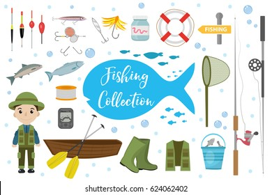 Fishing icon set, flat, cartoon style. Fishery collection objects, design elements, isolated on white background. Fisherman's tools with a fishing rod, tackle, bait, boat. Vector ilustration, clip-art