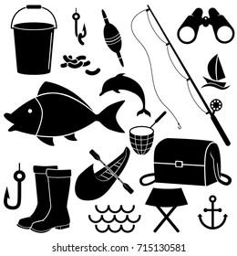 Fishing icon set isolated on white background. Vector art.