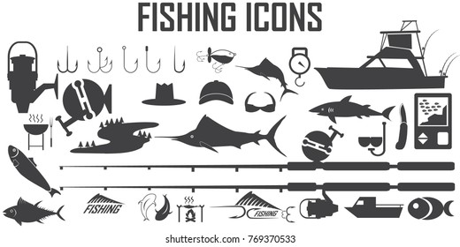 fishing icon set vector. Marlin, Spearfish, Sailfish,salmon,tuna,sonar