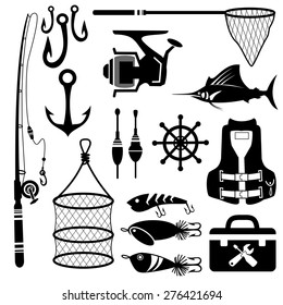 Fishing icon set.vector