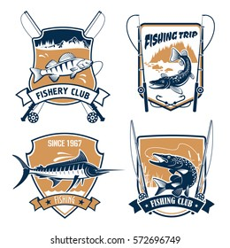 Fishing icons. Fisherman trip club or fishery industry vector symbols with fishing rods, hook and baits, lake fish catch of marlin, pike, carp perch or sturgeon salmon or trout, catfish or eel