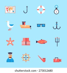 Fishing icons. Flat design vector illustrations.