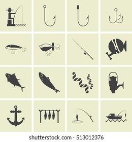 fishing icons, mono vector symbols