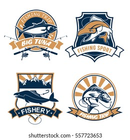 Fishing icons set  fishing rods, hook and baits, river or lake fish catch of tuna, carp perch or sturgeon salmon or trout, catfish or eel. Fisherman sport club or fishery industry vector symbols