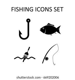 Fishing Icons Set Single Color Vector Stock Vektorgrafik Lizenzfrei