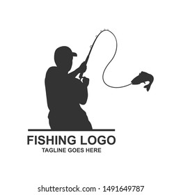 Fishing Illustration Silhouette Logo Design Vector