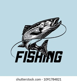 fishing illustration template for logo