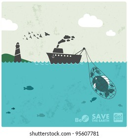 """fishing industry background - eco balance """"don't take too much"""""""