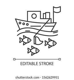Fishing industry linear icon. blue color icon. Fishery sector. Commercial fishing activity. Business in ocean. Thin line illustration. Contour symbol. Vector isolated outline drawing. Editable stroke