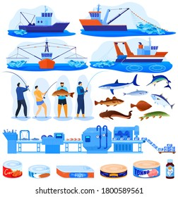 Fishing industry vector illustration set. Cartoon flat infographic collection with commercal fisherman boats trawlers for industrial seafood production, fish food products conveyor isolated on white