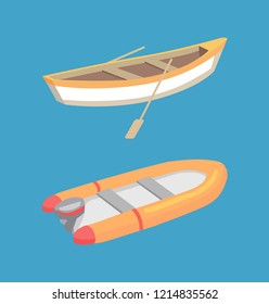 Fishing and inflatable boat with oars, marine traveling vessel vector icons isolated on blue. Fisher ship sailing nautical personal transport, rescue sailboat