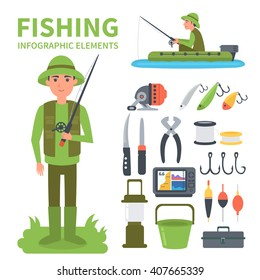 Fishing infographic elements. Set of vector icons - full-length fisherman, fisherman in a boat, fishing equipment. Vector illustrations