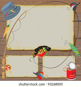 Fishing Invitation on old worn paper & woodgrain background