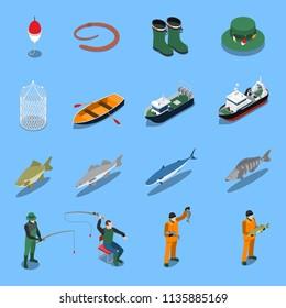 Fishing Isometric Icons Set