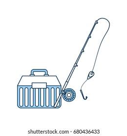 Fishing kit box with rod icon