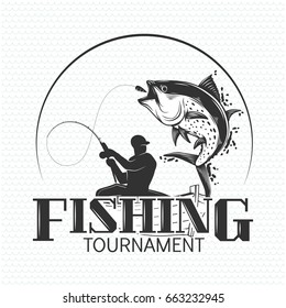 Fishing label with a fish and a fisherman in a boat.All elements editable.