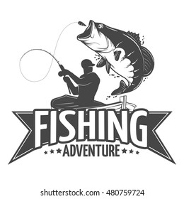 Fishing label with a pike and a fisherman in a boat.All elements editable.