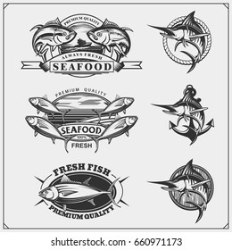 Fishing labels, badges, emblems and design elements. Illustrations of Tuna and Marlin.