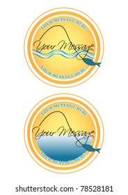 Fishing labels or buttons
