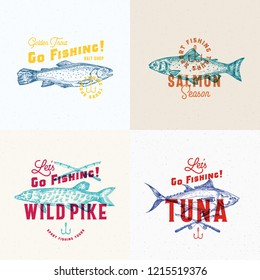 Fishing Labels Set. Abstract Vector Signs, Symbols or Logo Templates. Hand Drawn Pike, Tuna, Trout and Salmon Sketches with Fishing Rods and Hooks and Retro Typography. Vintage Emblems. Isolated.