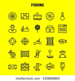 Fishing Line Icon Pack For Designers And Developers. Icons Of Wheel, Gear, Circle, Reel, Fish, Fishing, Fishing Reel, Vector
