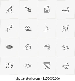 Fishing line icon set with float , worms for fish  and camping table