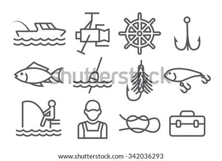 Fishing Line Icons Stock Vektorgrafik Lizenzfrei 342036293