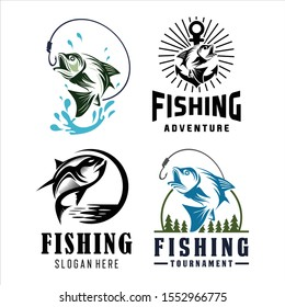 Fishing Logo Badge Illustration, Ideal For Fishing Club, Tournament, Restaurant, Fashion Apparel Patch, Sticker, Sign, Event, And Many Other Fishing Related Activities, Fishing Vintage