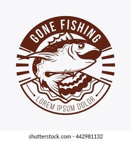 Fishing logo or badge template. Monotone version.