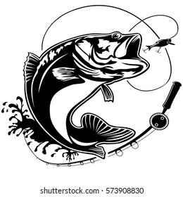 Fishing logo. Bass fish club emblem. Fishing theme vector illustration. Isolated on white.