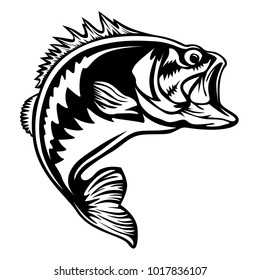 Fishing logo. Bass fish with rod and lure club emblem. Fishing bass theme illustration. Fish Isolated on white.