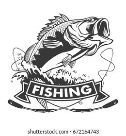 Fishing logo. Bass fish with rod club emblem. Fishing theme vector illustration. Isolated on white.
