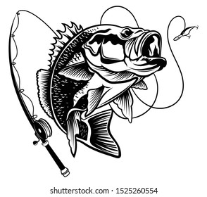 Fishing logo. Black and white illustration of a fish hunting for bait. Predatory fish on the hook. Fishing on the rod. Tattoo.
