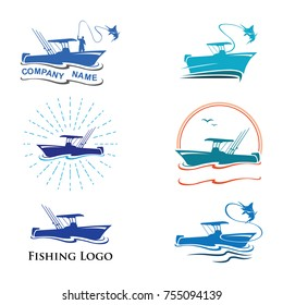 Fishing Logo Collection with Fisherman on Fish Boat