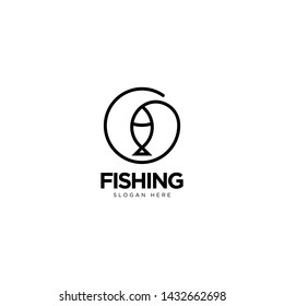 Fishing Logo Design Outline Monoline