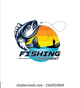 Fishing logo design template illustration. Sport fishing Logo