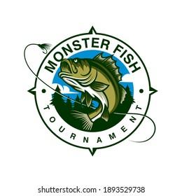 Fishing logo design template illustration . Sport fishing Logo