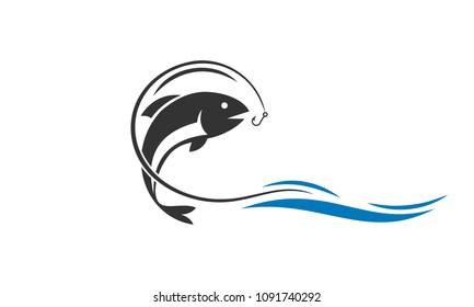 Fishing logo, fishhook logo design.
