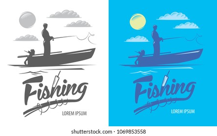Fishing logo and silhouette of a fisherman in a boat