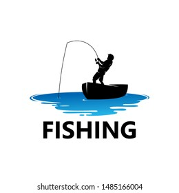 Fishing Logo Template Design Vector, Emblem, Design Concept, Creative Symbol, Icon
