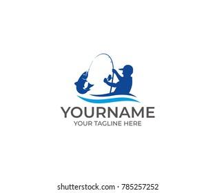 Fishing Logo Template. Fisherman and Fish Vector Design. Animal Illustration