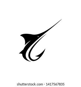 Fishing logo template: Marlin fish with a hook