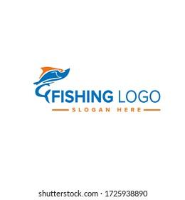 Fishing logo template. Vector illustration Concept.