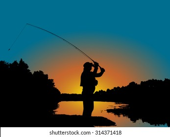 Fishing with lure in sunset