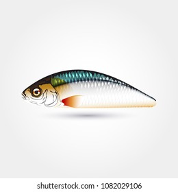 Fishing lure wobbler mockup fish print realistic