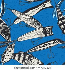 Fishing Lures seamless pattern. Vector Illustration