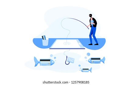 Fishing man in a balaclava, who is trying to catch credit cards' personal information using his laptop. Phishing and hacktivism concept. Colorful vector illustration for web.