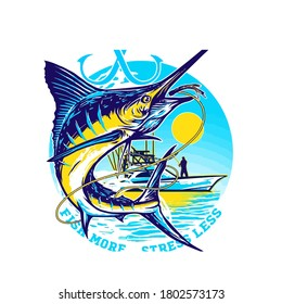 fishing marline logo design vector